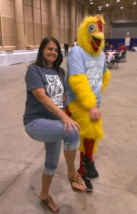 Marie with the Rusty Eck Ford Chicken volunteering for Children's Miracle Network